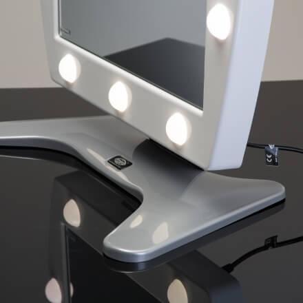 Specchio con luci trucco mod.MDT in metacrilato bianco