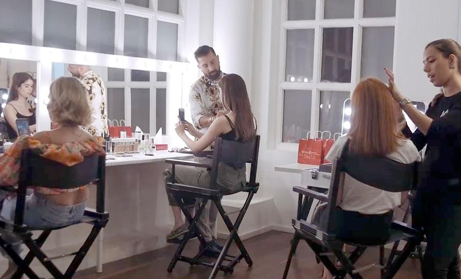 allestimenti specchi e sedie beauty store, brow bar, make-up area